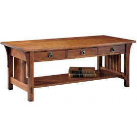 Stickley Living Room Three Drawer Cocktail Table