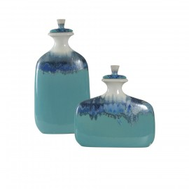 Set of Two Ceramic Jars with Lids in Blue Ombre