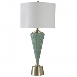 Pale Agua Painted Glass with Steel Accents White Drum Shade
