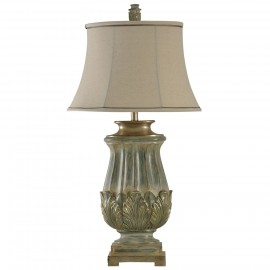Traditional Table Lamp in Sage and Gold Finish Fabric Shade
