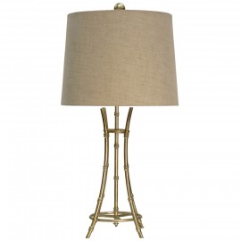 Champagne Silver Metal Base Bamboo Design Table Lamp