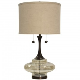 Weimer Grand Scale Plated Glass & Metal Base Table Lamp