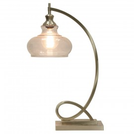 Brushed Steel | Metal Ornamental Table Lamp with Glass Globe
