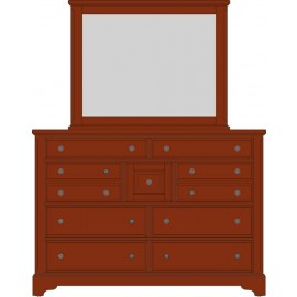 Artisan Choices 104-004 Villa Triple Dresser in Dark Cherry Finish