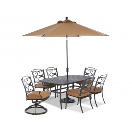 "Basics 72"" Rectangle Dining Table w/6 Chairs & Umbrella"