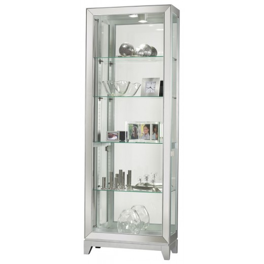 Doerr Furniture   Shayne Four Glass Shelf Silver Contemporary Curio Cabinet