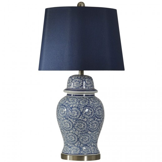 Doerr Furniture Chinese Blue Ginger Jar Table Lamp
