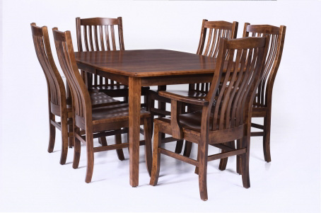 Doerr Furniture Expressions Boat Shaped Dining Table W 2 12 Leaf 4 Side Chairs 2 Arm Chairs