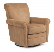 Plaza Fabric Swivel Glider w/Nailheads