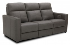 POWER RECLINING LEATHER MATCH SOFA WITH POWER HEADRESTS
