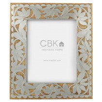 Silver Floral Inlay 8x10 Frame.