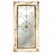 Distressed White Wall Mirror with Rusted Scroll*