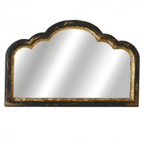 Distressed Black & Gold Curved Top Wall Mirror
