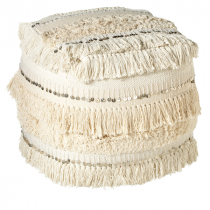 Ecru Pouf with Sequin & Fringe