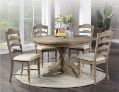 """Augusta 54"""" Round Pedestal Table w/4 Ladder Back Upholstered Chairs"""