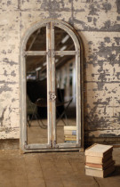 Wooden Arched Mirror