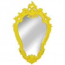 Vibrant Yellow Victorian Framed Mirror