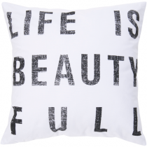 Typography Life is Beauty Full Throw Pillow Casing